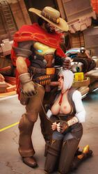 3d areolae ashe_(overwatch) balls bob_(overwatch) breasts cowboy_hat duo fellatio forced hackolpak hand_on_head lipstick lipstick_on_penis male mccree nipples oral overwatch penis red_eyes route_66_(map) spitroast tattoo white_hair