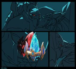 2015 alien anthro blue_eyes censored comic cool_colors creative_censorship duo frottage humor male monochrome penis protoss pylon red_eyes restricted_palette sex sketch smile starcraft sweat viktria yaoi