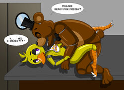 1boy 1girl animatronic avian bear chica_(fnaf) chica_the_chicken chicken dialogue english_text female five_nights_at_freddy's freddy_(fnaf) freddy_fazbear imminent_sex interspecies male mammal nude nudity video_games