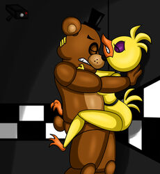 1boy 1girl avian bear chica_(fnaf) chica_the_chicken chicken clenched_teeth eyes_closed female five_nights_at_freddy's freddy_(fnaf) freddy_fazbear interspecies male mammal nude nudity on_wall security_camera sex straight vaginal_penetration