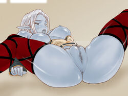 ass blue_skin blush bottomless breasts censored dark_elf elbow_gloves fat_mons female floor grey_eyes huge_pussy large_breasts lineage lineage_2 lying nipples no_bra no_panties on_back open_clothes open_mouth open_shirt oso_(artist) pointy_ears pussy shirt short_hair silver_hair solo spread_legs thighhighs wince window