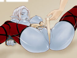 4:3 ass blue_skin blush bottomless breasts censored dark_elf elbow_gloves elf fat_mons floor grey_eyes large_breasts lineage lineage_2 lying nipples no_bra no_panties on_back open_clothes open_mouth open_shirt oso_(artist) panties panty_pull pointy_ears pussy shirt short_hair silver_hair spread_legs thighhighs underwear wince window