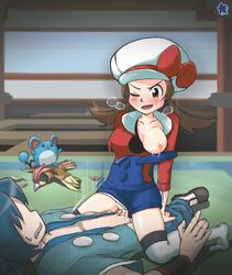 1boy blue_hair breasts brown_eyes brown_hair clothed_sex cowgirl_position cum cum_in_pussy female gym_leader hayato_(pokemon) kotone_(pokemon) lmd lyra_(pokemon) marill one_breast_out penetration pidgeotto pokemon sex straddling text translation_request vaginal_penetration