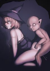 1boy ass_grab bald bare_shoulders big_nose bottomless breasts clothed_female_nude_male clothed_sex commentary doggy_style dress drooling dual_berettas empty_eyes english_commentary female fucked_silly glasses goblin goblin_slayer hair_between_eyes hat highres incest large_breasts lips monster_boy mother_and_son nipples no_bra no_pupils nose nude semi-rimless_eyewear sepia sex short_hair straight strapless strapless_dress thighs under-rim_eyewear wizard_(goblin_slayer) wizard_hat