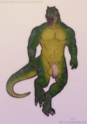 1boy 2019 anthro balls biceps claws dinosaur invalid_tag lostgoose male male_only muscular nude penis reptile scalie solo solo_focus solo_male standing