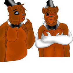 anthro eyes_closed five_nights_at_freddy's freddy_fazbear furry_only gay hair_over_one_eye male male_only offscreen_character tagme yaoi