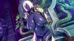 3d ahe_gao animated areolae arms_behind_back bouncing_breasts breasts cleavage clothes colonelyobo cross-eyed dark-skinned_female dark_elf dark_skin detailed_background drow duo earrings elf erect_nipples faceless_male female from_behind fucked_silly hoop_earrings huge_breasts human humanoid interspecies long_ears male navel nipples no_sound nude pointy_ears puffy_nipples purple_skin queen_nualia sex short_hair shoulder_grab source_filmmaker standing standing_sex straight tongue tongue_out vaginal_penetration webm white_hair yellow_eyes