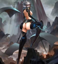 ass back breasts camille_(league_of_legends) closed_eyes female female_only gray_hair grey_hair league_of_legends legs lol long_legs nipple open_eyes short_hair