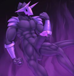abstract_background balls claws demon erection fist floating foreskin hi_res horn humanoid_penis male male_only mask muscular nude penis solo testowepiwko