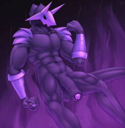 abstract_background balls claws demon fist flaccid floating foreskin hi_res horn humanoid_penis male male_only mask muscular nude penis solo testowepiwko