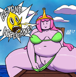 ! adventure_time belly big_belly big_breasts bikini blood breasts cartoon_network clothed clothing digital_media_(artwork) dizzy_demon english_text female hair humanoid humor lemongrab male navel nosebleed open_mouth overweight partially_clothed pink_skin pinup pose presenting princess_bubblegum pussy smile spreading swimsuit text