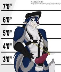 albax balls bondage canine chains clothed clothing erection fur genital_piercing gloves harness hat knot male male_only mammal mugshot penis penis_piercing piercing prince_albert_piercing solo standing viola_bat were werewolf worg