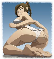 1girls ass avatar_the_last_airbender big_ass big_breasts breasts female giantess large_breasts larger_female looking_at_viewer looking_back panties ravenravenraven size_difference solo_focus ty_lee