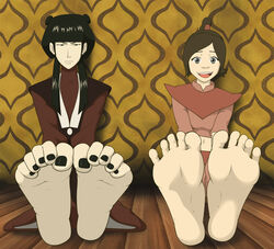 2girls anaxus angry avatar_the_last_airbender barefoot clothes feet female happy looking_at_viewer mai_(avatar) nail_polish pov_feet soles tagme toenail_polish toes ty_lee
