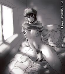 1boy arm_support backpack bag bar_censor baseball_cap bed belly blush capri_pants censored femboy flaccid girly greyscale hat heart highres human looking_at_viewer male_only male_protagonist_(pokemon_sm) male_pubic_hair monochrome mostly_nude navel nintendo nipples on_bed pants pants_around_one_leg penis pillow pointless_censoring poke_ball pokemon pokemon_sm pubic_hair shirt shirt_lift short_hair shurururu sitting smile solo striped striped_shirt sweat t-shirt testicles text window