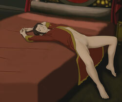 anaxus avatar_the_last_airbender azula barefoot bed bed_sheet bedroom brown_hair female laying_down long_hair looking_at_viewer naked pussy robe smiling solo tagme