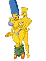 areola artist_request bart_simpson big_breasts erect_nipples erection female human male marge_simpson maxlat nipples penis the_simpsons