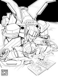 alien autobot bed book cybertronian decepticon female from_behind_position humanoid machine male mech monochrome on_bed robot sex simple_background smile starscream straight teeth transformers windblade wings