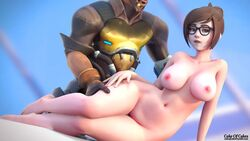 1boy 1girls 3d animated areolae asian big_breasts breasts brown_hair cakeofcakes female glasses interracial large_breasts male mccree mei_(overwatch) nipples no_sound nude overwatch straight webm