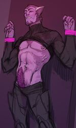 alien_genitalia bound bound_wrists galra male_only partially_clothed pointy_ears purple_skin solo_male tagme thace_(voltron) voltron:_legendary_defender xenophilia