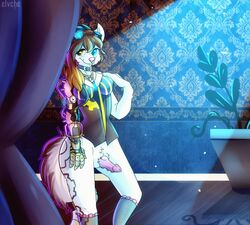 amulet anthro bottomless breasts corset elvche feline furry futanari glowing glowing_eyes heterochromia inventor's_goggles lingerie long_hair mammal nude penis prosthetic smile solo steampunk thighhighs