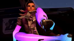 1girl 3d animated brown_hair campfire dark_skin drunkengeneral feet female_only foot_fetish looking_at_viewer medium_hair nipple_piercing no_sound nonude on_back overwatch piercing pink_eyes shaved shaved_pussy shiny smile soles solo sombra source_filmmaker stockings toes webm