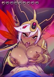 1boy 1girl areolae blush breasts cia_(the_legend_of_zelda) dark-skinned_female dark_skin erection female heart hud hyrule_warriors interracial kajinman large_breasts male nipples open_mouth paizuri penis pov straight text the_legend_of_zelda tongue tongue_out url watermark wet