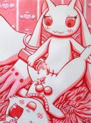 2017 accessories bed_sheet bedding bedroom blush_sticker burning_candle candle crossover dripping_wax female fluffy fluffy_tail grabbing hare incubator_(species) jewelpet jewelry kyuubee lagomorph lying mahou_shoujo_madoka_magica mammal monochrome mukucookie necklace on_back one_eye_closed open_mouth pussy red_eyes ruby_(jewelpet) sanrio sex smile traditional_media_(artwork) tribadism wax wax_on_body wax_play yuri