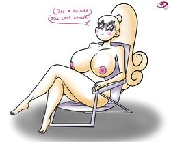 aged_up breast chillguy curvy female glasses gravity_falls huge_breasts mabel_pines naked ponytail sunglasses