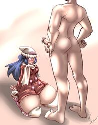 1boy 1girls blue_hair clothed_female_nude_male dawn_(pokemon) faceless_male female kerodash kneeling looking_at_penis penis penis_awe pokemon pokemon_dppt thick_thighs veins veiny_penis wide_hips