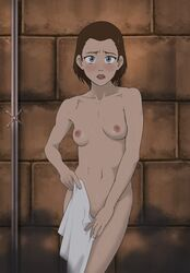 1girl after_shower anaxus avatar_the_last_airbender blue_eyes blush breasts female looking_at_viewer naked nipples shadow solo suki towel upset wet wet_hair
