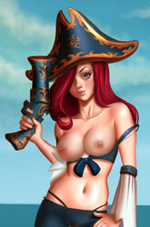 adapted_costume bare_shoulders belly black_hat black_headwear black_panties black_underwear blue_background blue_eyes blue_sky blurry_background breasts breasts_out_of_clothes clothes clothing cloudy_sky costume cowboy_shot curvaceous detached_sleeves didi_esmeralda eyelashes eyeliner eyeshadow female female female_only functionally_nude gradient gradient_background gun hair_over_one_eye handgun hat headwear high_resolution hips holding holding_gun holding_handgun holding_object holding_pistol holding_weapon human large_breasts league_of_legends legs light-skinned light-skinned_female lips lipstick long_hair looking_at_viewer makeup mascara midriff miss_fortune navel nipples nude outdoors pants pantsu patreon_reward pirate pirate_hat pistol realistic red_hair riot_games sarah_fortune simple_background sky solo standing stomach tank_top thighs thong tight_pants underwear very_high_resolution video_game weapon