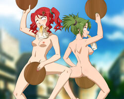 ahe_gao dance green_hair multiple_girls red_hair smile underwear_in_mouth