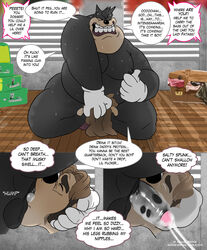 2boys age_difference animasanimus anthro black_nipples canine chad_(a_goofy_movie) chubby closet comic cum cum_in_mouth cum_in_throat cum_inside deep_throat dialogue disney duo english_text erection fellatio forced furry gay goof_troop hi_res humanoid_penis male male_only mammal moobs nipple_pinch nipples nude oral overweight penis peter_pete_sr. pinch sweat testicles text unseen_character url watermark yaoi