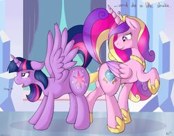 2013 alicorn cutie_mark dialogue dildo dock double_dildo dripping duo english_text equine feathered_wings feathers female feral feral_on_feral friendship_is_magic fur hair half-closed_eyes horn inside looking_back mammal multicolored_hair my_little_pony penetration princess_cadance_(mlp) purple_eyes purple_fur purple_hair pussy_juice raised_tail ratofdrawn sex_toy smile text tongue tongue_out twilight_sparkle_(mlp) two_tone_hair vaginal_penetration wing_boner wings yuri
