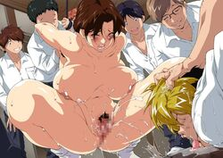 1girls anus areolae ass blush bondage breasts brown_eyes brown_hair censored chubby crying embarrassed female forced forced_orgasm forced_to_watch gangbang glasses groin hair_bun highres hikaru_no_go huge_breasts humiliation indoors laugh legs looking_down matching_hair/eyes milf mosaic_censoring mother mother_and_son nipples no_panties nude one_eye_closed open_mouth pubic_hair pussy rape screaming shindou_hikaru shindou_mitsuko son spread_legs sweat tears thick_thighs thighs wide_hips