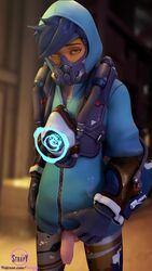 3d alternate_costume blender dickgirl futa_only futanari graffiti_tracer looking_at_viewer overwatch penis solo strapy tracer