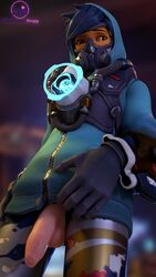 3d alternate_costume balls blender dickgirl futa_only futanari graffiti_tracer looking_at_viewer overwatch penis solo strapy testicles tracer