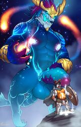 absurd_res anthro aurelion_sol balls big_penis canine cum cum_drip cum_on_stomach deity dripping duo glowing glowing_nipples half-erect hi_res holding_penis humanoid_penis league_of_legends magic male mammal marlon.cores muscular muscular_male nipples pantheon penis riot_games size_difference standing surprise uncut vein video_games yaoi