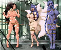 2017 5_fingers 5_toes ahri animal_humanoid arms_behind_back big_breasts blue_hair blush bondage braided_hair breasts brown_hair canine crotch_rope dragon dragon_humanoid female femdom femsub fox fox_humanoid hair human humanoid league_of_legends leash mammal multi_tail multiple_girls multiple_subs nidalee nude purple_hair pussy pussy_floss pussy_juice riot_games rope rope_walking shyvana smile stormfeder toes video_games yuri