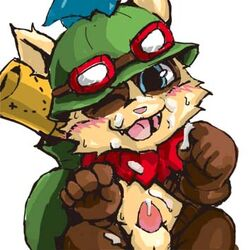anthro balls cum erection fur league_of_legends looking_at_viewer male open_mouth penis riot_games smile solo teemo tongue toony video_games winecrow yordle