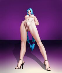 anus blue_hair breasts choker clitoris female female_only high_heels jinx_(league_of_legends) league_of_legends lipstick makeup nipples nude pussy red_eyes riot_games solo spread_legs standing_on_both_legs two_braids uncensored vaginal_penetration ynwswy