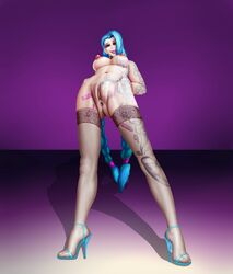 anus blue_hair breasts choker clitoris female female_only high_heels jinx_(league_of_legends) league_of_legends lipstick makeup nipples nude pussy red_eyes riot_games solo spread_legs standing_on_both_legs tattoos thighhighs two_braids vaginal_penetration ynwswy