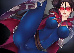 black_hair blush breasts clothes female glasses hina_kitty league_of_legends riot_games vayne