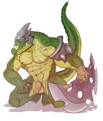 abs anthro armor balls biceps claws crocodile crocodilian cuson fangs flaccid full-length_portrait full_length green_scales kneeling league_of_legends looking_at_viewer male muscular muscular_male nipples nude obliques pecs penis renekton reptile riot_games scales scalie scar solo teeth toe_claws triceps uncut video_games weapon yellow_eyes