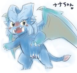 2014 blue_scales blush capcom cum cum_on_stomach doneru elder_dragon fangs female feral heart lunastra monster_hunter open_mouth pussy scales scalie simple_background solo standing sweat tongue video_games white_background wings yellow_eyes