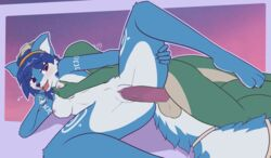 2018 anthro balls blue_fur blue_hair blush breast_grab breast_rest breasts canine duo erection female fox from_behind_position fur green_body hair hand_on_breast heart jewelry krystal lying male male/female mammal nintendo nipples nude on_side penetration penis pussy raydio reptile scalie sex simple_background spread_legs spreading star_fox tailband thigh_grab vaginal_penetration vaginal_penetration video_games white_fur