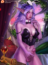 1girls 2019 2d absurd_res breasts bunny_ears color cum curvy detailed_background ejaculation elf female female_only futanari hair holding_penis long_hair night_elf pointy_ears purple_hair ribbon solo tigrsasha video_games warcraft wine wine_glass world_of_warcraft