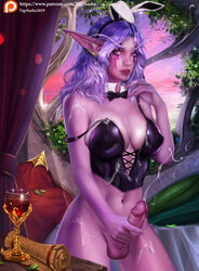 1girls 2019 2d absurd_res breasts bunny_ears color cum cum_on_body cum_on_breasts curvy detailed_background ejaculation elf female female_only futanari hair holding_penis long_hair night_elf pointy_ears purple_hair ribbon solo tigrsasha video_games warcraft wine wine_glass world_of_warcraft