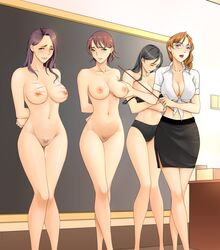 4girls arms_behind_back black_hair blush bondage bra breasts brown_eyes brown_hair chalkboard femdom femsub glasses green_eyes highres lilith2010 long_hair multiple_girls multiple_subs navel nipples nude original panties pubic_hair purple_hair pussy school short_hair standing teacher tears uncensored underwear whip_marks